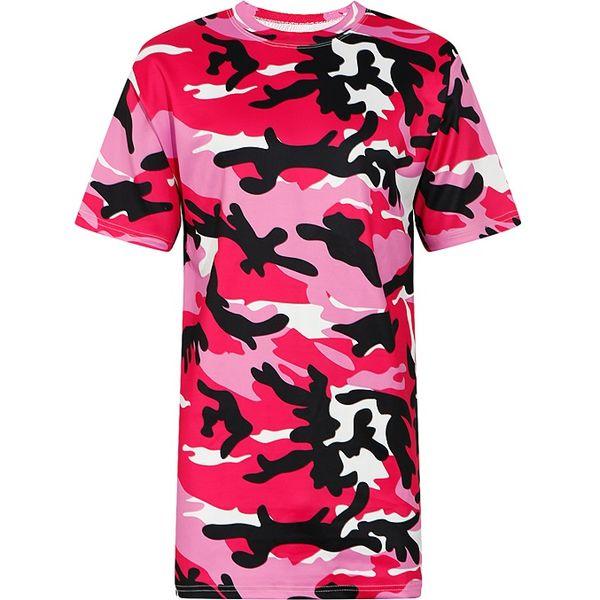Women T-shirt 2018 Summer Short Sleeve Camo Print Loose Design Tee Top for Girls Casual T Shirt Oversized Tshirt Pink Camouflage