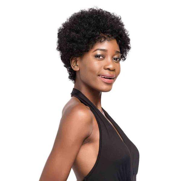 En kaliteli Afro Kinky Kıvırcık Saç Kısa İnsan Saç Kapless Peruk siyah Kadınlar Için doğal Renk Bakire Saç Bob Kısa Peruk