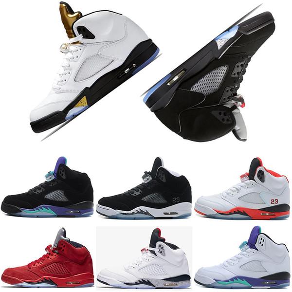 5 5s Olympic Metallic Gold Sneakers OG Black Metallic men designer sneakers trainers International Flight Metallic Silver mens sports shoes