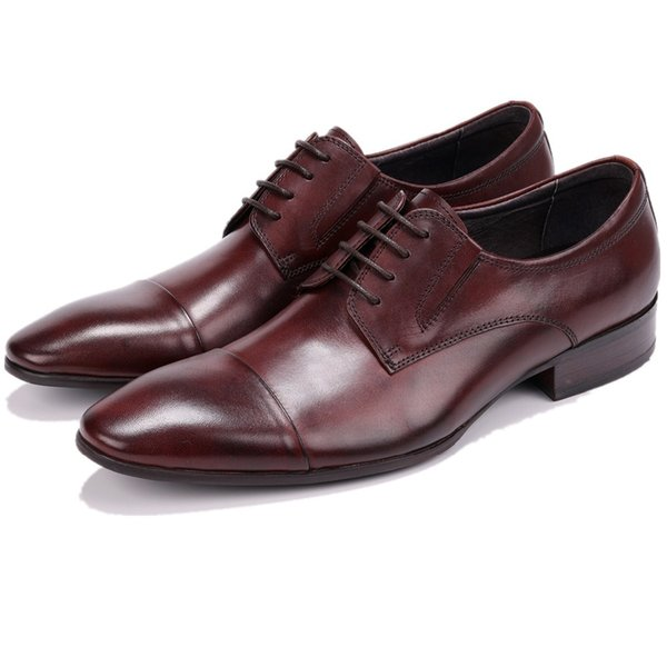 Fashion Black / Tan Mens Dress Shoes Genuine Leather Business Shoes Male Formal Wedding Groom