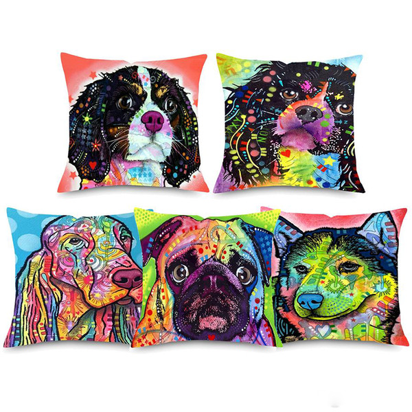 Blank Media Cases Wallets Electronics Christmas Dog Cat Terrier Pet Dogs Oil Painting Pattern Printed Pillowcase Square Cotton Linen Pillow Covers