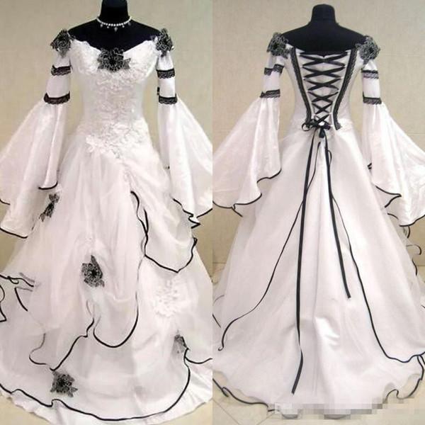 Robes de mariée médiévales Vintage Renaissance noir et blanc pour les femmes arabes robes de mariée celtique avec Fit et évasement fleurs