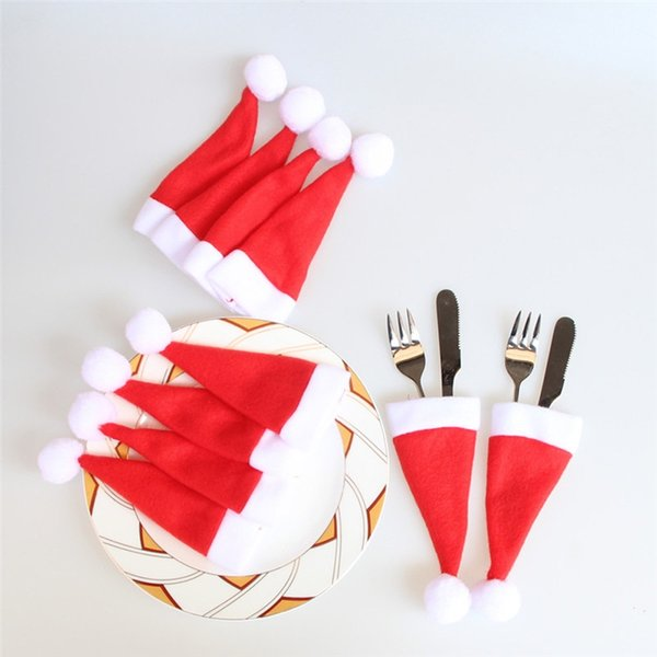 10PCS Christmas Caps Cutlery Holder Fork Spoon Pocket Christmas Decor Bag Knife Fork Set Cover Christmas Supplies Mini Santa Hat