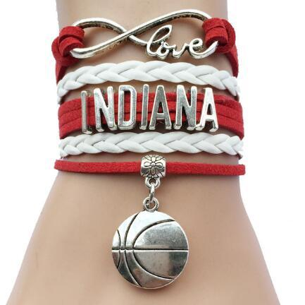 10pcs/lot hot sale drop shipping new arrival Custom Infinity Love Indiana Us State Name Basketball Charm Sports Bracelet Drop Shipping