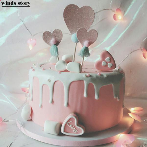Acheter Nouveau Coeur Gâteau Topper Saint Valentin Fête Danniversaire De Mariage Décorations Cupcake Toppers Gâteau Décoration Party Favors