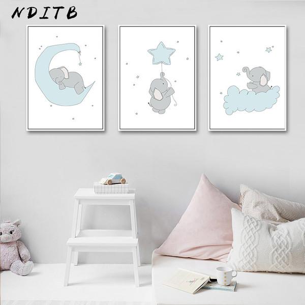 NDITB Cute Cartoon Elefant Mond Leinwand Kunst Malerei Poster Drucke Dekorative Bild Baby Schlafzimmer Kinderzimmer Wanddekoration
