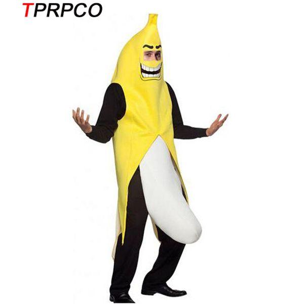 Мужчины косплей взрослых необычные платья смешные сексуальные банан костюм новинка Хэллоуин Рождество карнавал украшения партии NL1511