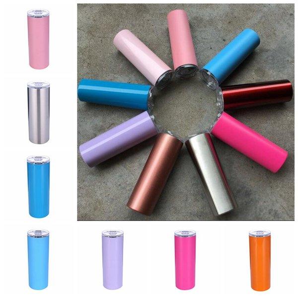 20 Unzen Edelstahl gerade Tasse 14 Farben hoch Skinny Tumbler 20 oz Vakuumisolierung Wasserbecher mit Deckel Stroh OOA5718