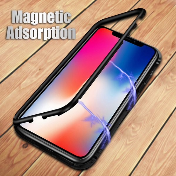 Magneto Magnetic Adsorption case for iphone XS max XR bumper luxury aluminum frame with tempered glass cover for iphone x 6 6s 7 8 plus