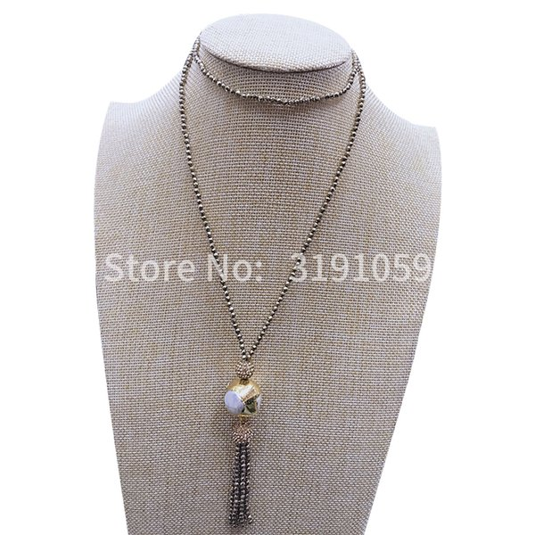 Simple beauté ornent article collier long collier joker tempérament à la mode style individuel pierre noire