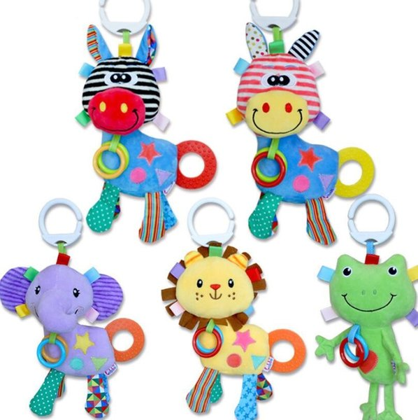Baby Toys Cute Animal Plush Hand Bells Baby Music Rattle for Kid Toys for Newborn Safety Seat Stroller Educational Toys YH1544