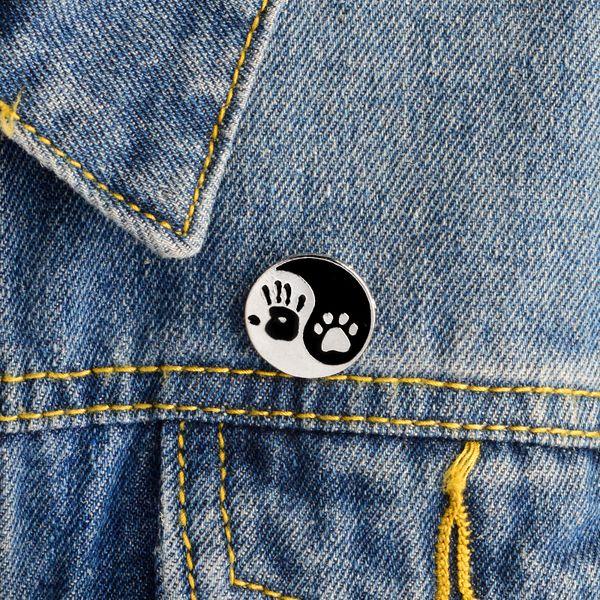 JEWELRY Taiji Ying yang black white round pendant Human hand and dog paw print pins Lapel pin Badge Best friend haif