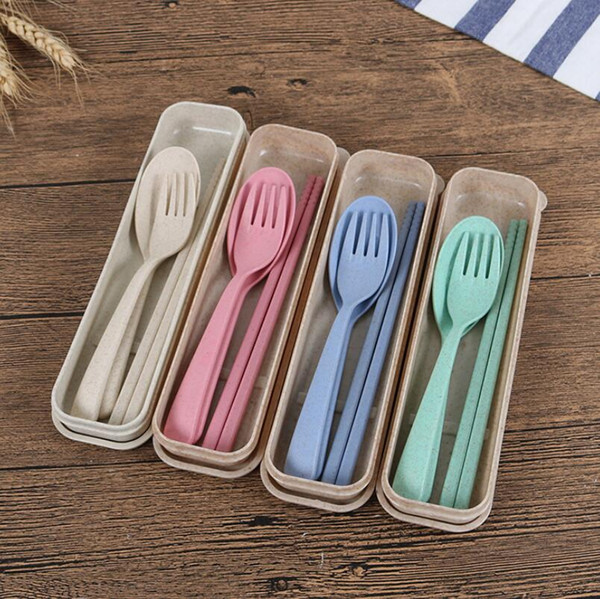best selling Exquisite Health Environmental Wheat Platycodon Straw Cutlery Set Portable Camping Tablewarel Spoon Fork Chopsticks Custom Logo LX3963