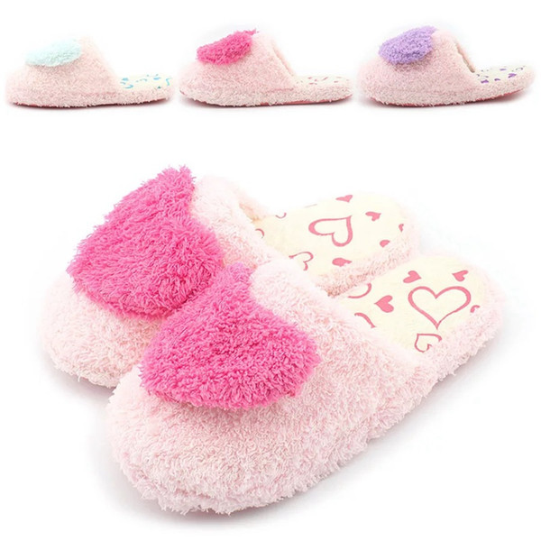 Women Fur Slippers Winter Warm Indoor Home Shoes Women Flat Flip Flops Breathable Soft Flock Slippers Love Pattern New