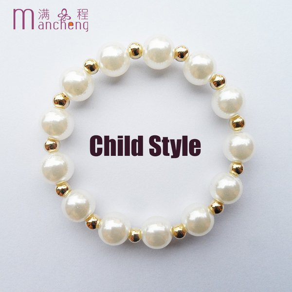 88a494e2ea1 good quality gold color 8MM Pearl beads kids Children s bracelets for girls  jewelry Lucky Imitation pearl baby bracelet boys