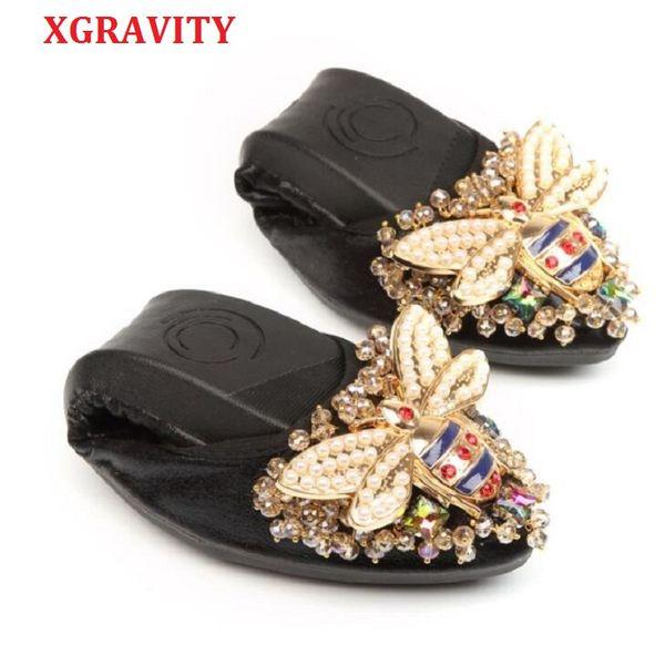 XGRAVITY Abelha Designer De Cristal Mulher Tamanho Grande Sapatos Baixos Elegante e Confortável Senhora Moda Strass Mulheres Sapatos de Menina Macia A031