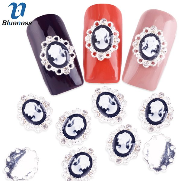 Blueness 10Pcs/Lot Silver Metal Beauty Girl Gems Charms Strass Nail Art Decorations 3D Diy Rhinestones Crystal Studs For Nails