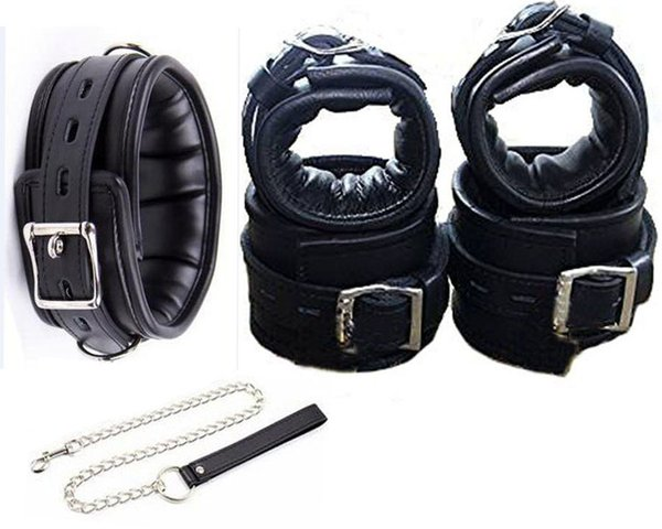 Leather Locking Hand s Ankle s ,Fetish BDSM Bondage Restraint, Fetish Sex Hands Ankles Adults Sex Toys Y18102405