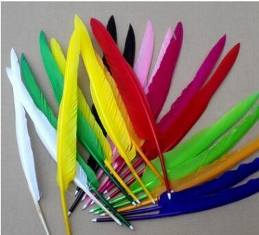 1000 pcs / lot Date Style rétro Plume Quill stylo Goose Stylos À Bille Pour Bureau Étudiant Collecte Cadeau De Mariage