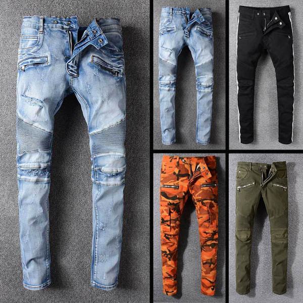 2018 Fashion kpop skinny ripped korean hip hop fashion pants cool mens urban clothing jumpsuit men's jeans