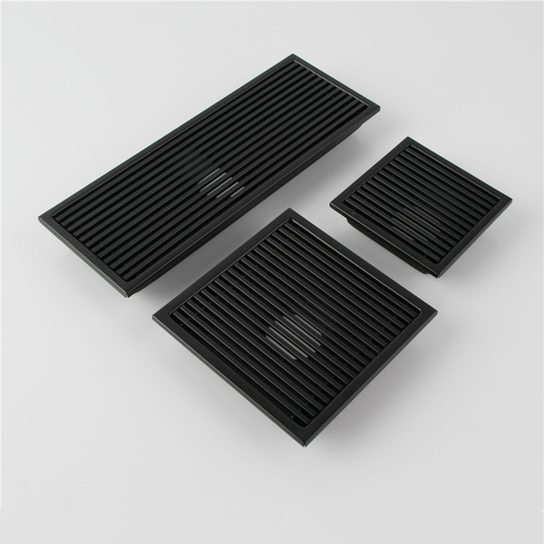 top popular Black SUS 304 Stainless Steel Shower Drain Bathroom Floor Drain Tile Insert Square Anti-odor Floor Waste Grates 110-300MM 2021
