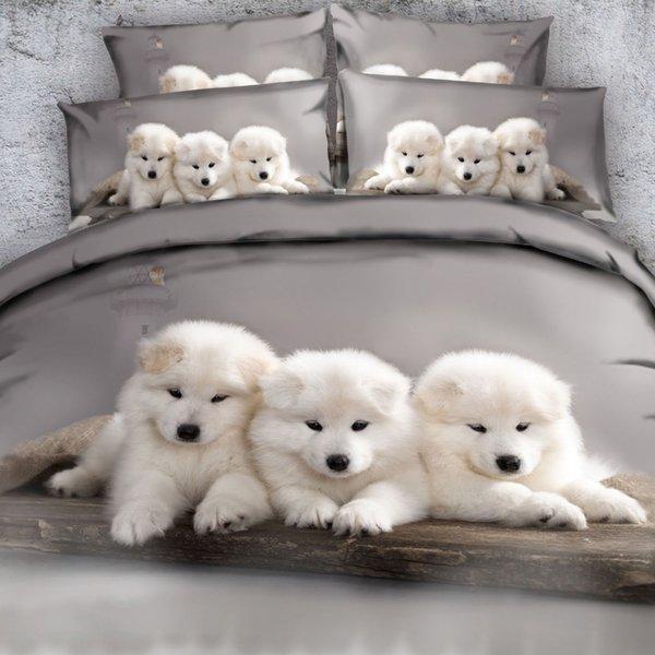 Royal Linen Source Brand 3 Parts Per Set White Samoyed Puppies cuddling 3d animal bedding set Coverlet