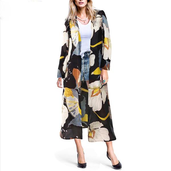Yeni Varış Çiçek Baskılı Trençkotlar Kadınlar Uzun Kollu Ince Trençkot Streetwear Şifon Casual Hırka Coat