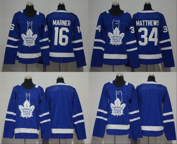 2018 Uomo Donna Gioventù Bambini Toronto Maple Leafs 16 Mitchell Marner 34 Auston Matthews Maglie blu bianche Tutte le maglie da hockey da uomo Stiched Boy Girls