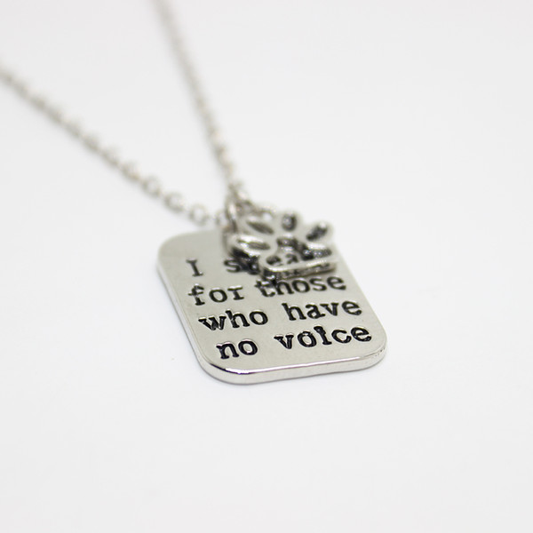 "12pcs/lot hand stamped Necklace I speak for those who have no voice""pendant Necklace, paw print charm necklace dog lover jewelry"