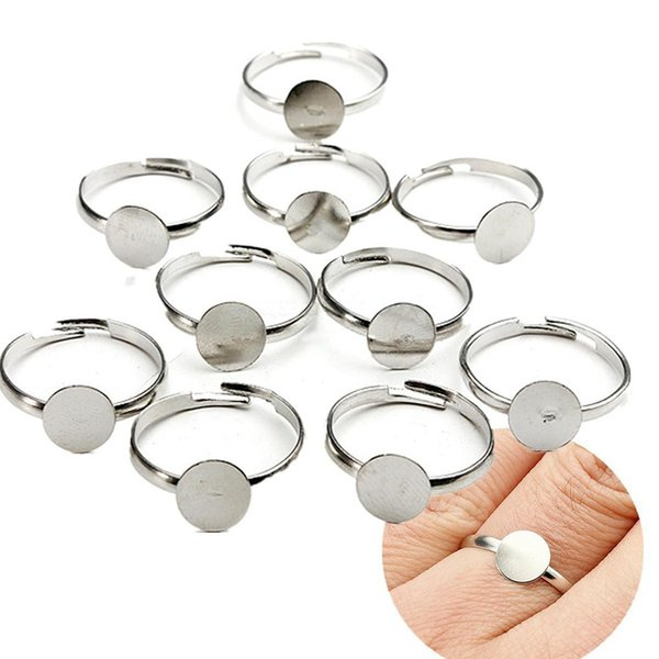 10PCS Dia 8mm Silver Plated Flat Ring jewelry Findings Pad Bases Blanks Fashion Accessories Adjustable Unisex DIY