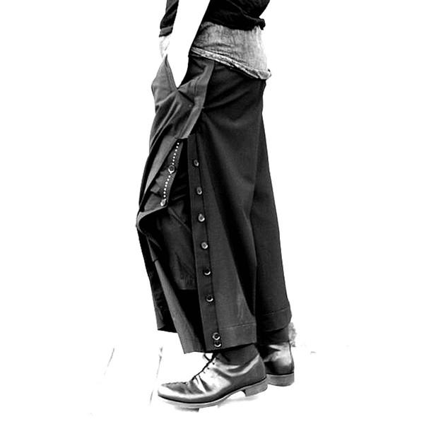 2018 NEW men's clothing Fashion stylist GD original loose leg leisure loose wool trousers