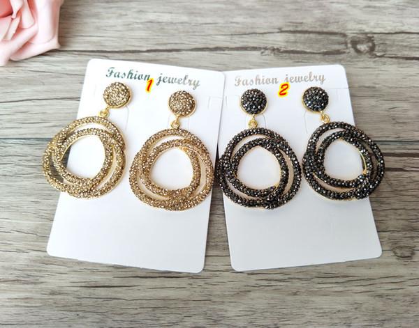 Fashion Women Circle Flower shape Earrings with Rhinestone Paved Dangle Earrings Handmade Jewerly for women ER536