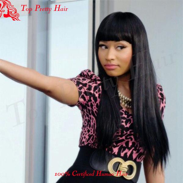 Light Yaki Full Lace Wig With Bangs Brazilian Human Hair Yaki Wigs African American Light Yaki Lace Front Wigs