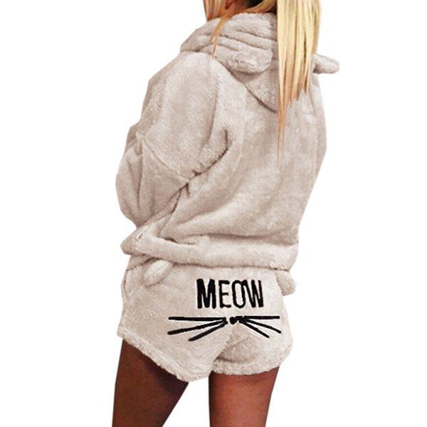 Новая Осень Зима Женская из двух частей набор пижамы теплый коралловый бархат костюм пижамы милый кот шаблон толстовки шорты из Fit
