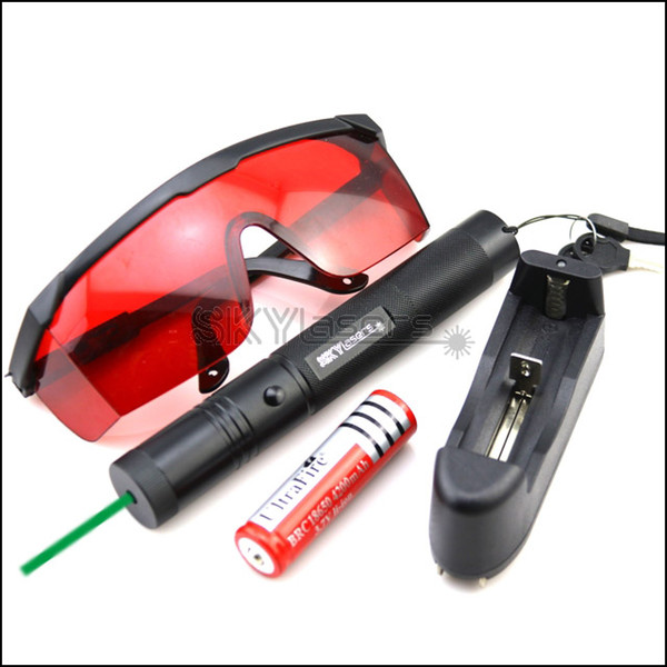 GS3 532nm Adjustable Focus Green Laser Pointer Pen Battery & Goggles & Charger