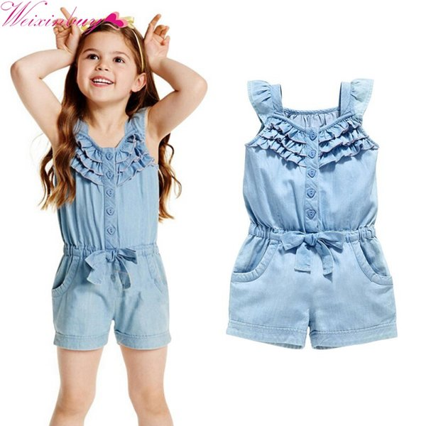 Baby Girls Clothing Rompers Denim Blue Cotton Washed Jeans Sleeveless Bow Jumpsuit 0-5 Years Old
