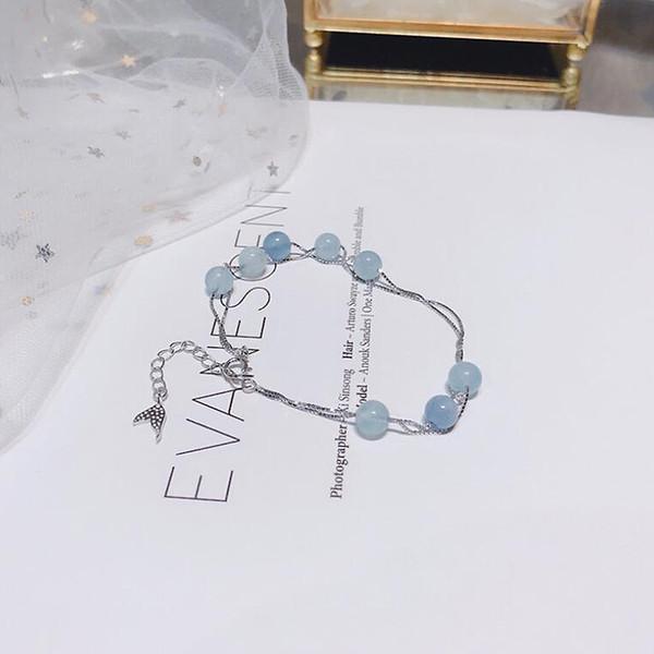 Ruifan 100% 925 Sterling Silver Bracelet for Women Natural Lucky Gem Stone Beads Aquamarine Charm Bracelets Bangles YBR033 S18101507