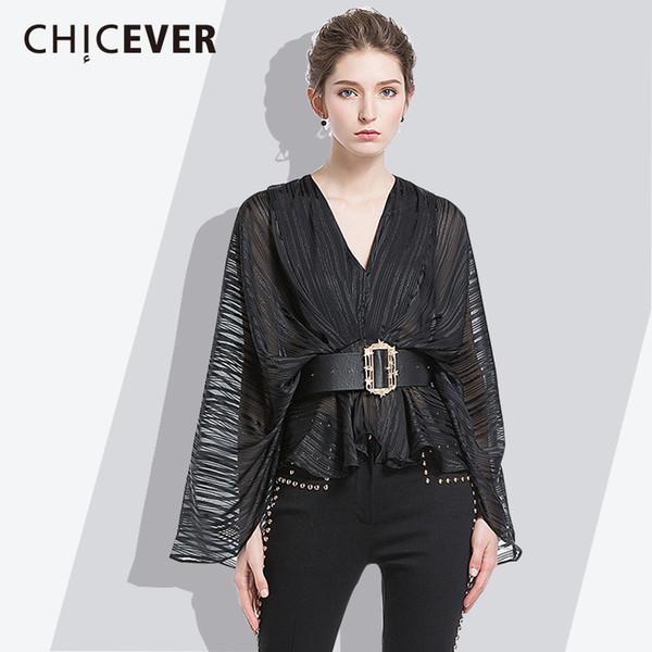CHICEVER Striped Frauen Shirt 2018 Sommer V-Ausschnitt Flügelhülse kurze weibliche Blusen OL Style Fashion Kleidung neu