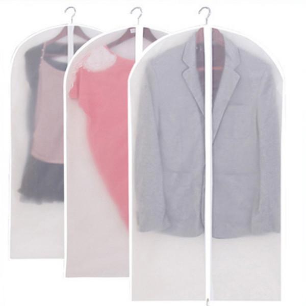 135 * 60 cm Transparente PEVA Durable Nonwovens Ropa Cubierta de polvo Traje Vestido de Prenda de Abrigo Bolsa de Almacenamiento A Prueba de agua Con cremallera Al Por Mayor