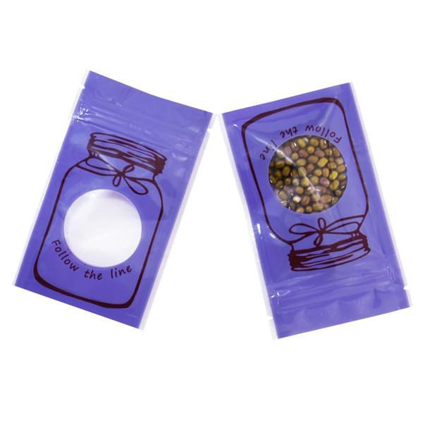 6*10cm Small Purple Flat Ziplock Bag Food Snack Coffee Tea Sample Storage Bag with Clear Window Reusable Plastic Bag with Zipper