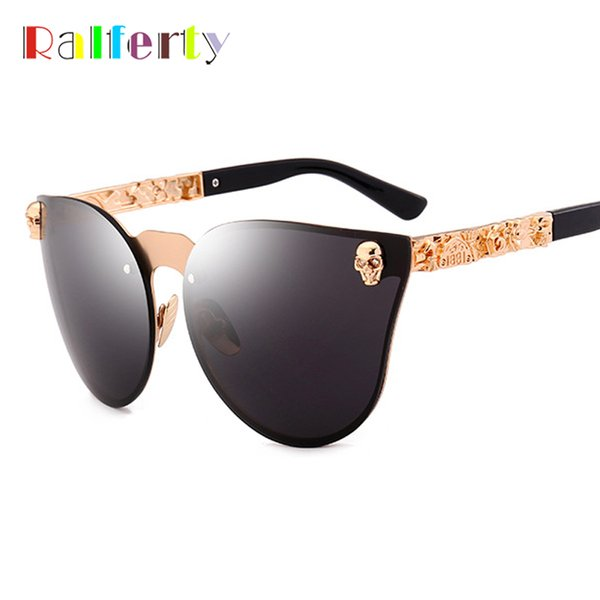 wholesale Vintage Skull Sunglasses Women Men Black UV400 Sun Glasses Retro Steampunk Sunglass Goggles Gothic Eyewear Metal C6006