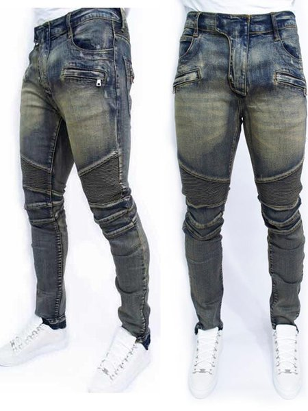 Mens foreign trade light blue / black jeans pants motorcycle biker men washing to do the old fold Trousers Casual Runway Denim