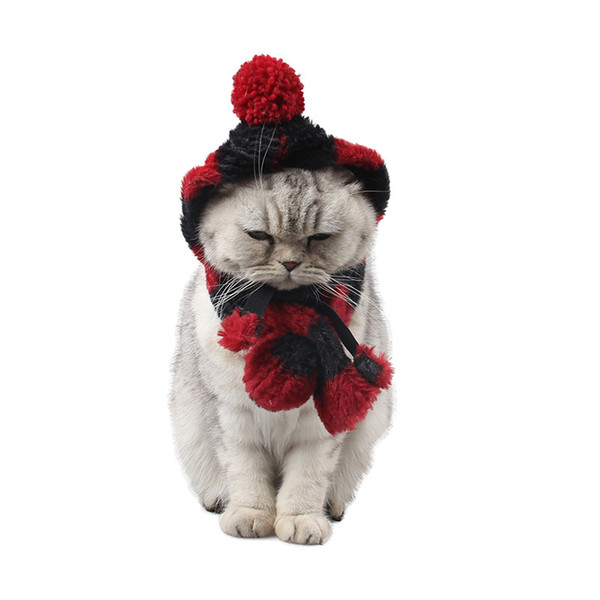Dog Cat Pet Hat Pet Month Supplies Hair Ball Thick Striped Bell Warmth Ear Cat Scarf Set DHL free shipping