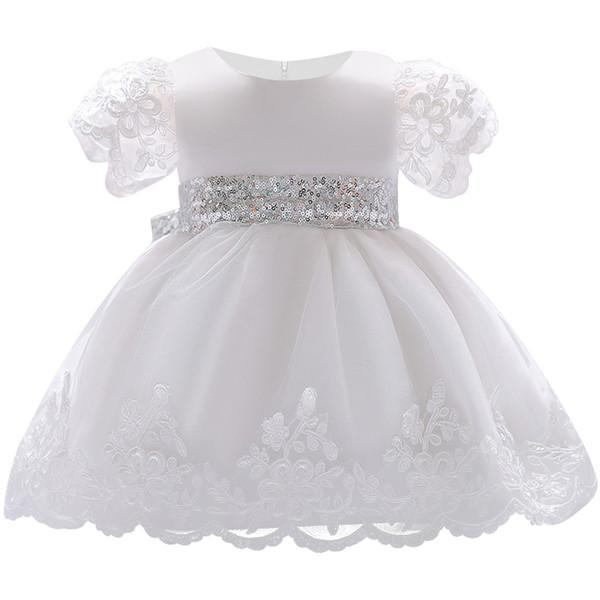 2018 Baby Mädchen Kleid Spitze weiß Taufe Kleider für Mädchen 1. Jahr Geburtstag Party Hochzeit Taufe Baby Kleinkind Kleidung