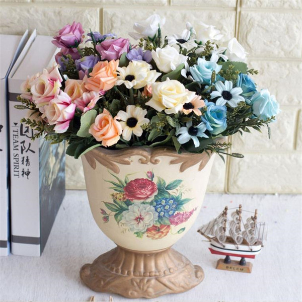 Fake Rose & Chrysanthemum Bunch (5 stems/piece) Simulation Oil Painting Curling Roses for Home Showcase Decorative Artificial Flowers