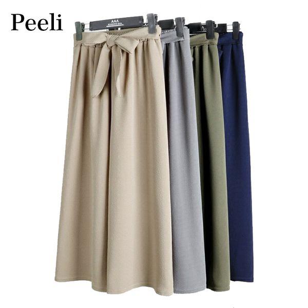 Peeli Spring Elastic Waist Wide Leg Pants For Women Casual Bowtie Cotton Linen Pants Office Lady Loose Trousers Palazzo Pants S18101606