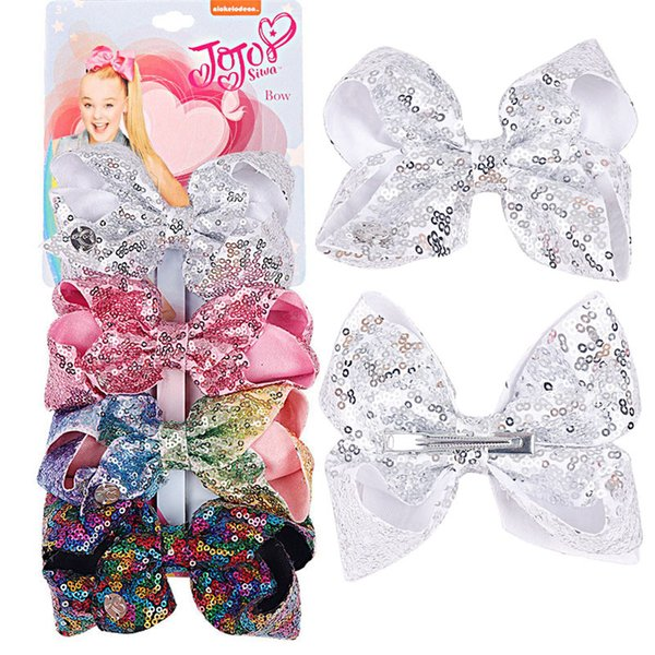 201811 New Designs JOJO 4pcs/set Sequin Baby Bow Hair Clips Lovely Kids Hair Accessories For Girls Children Fashion Gifts Free DHL H981Q