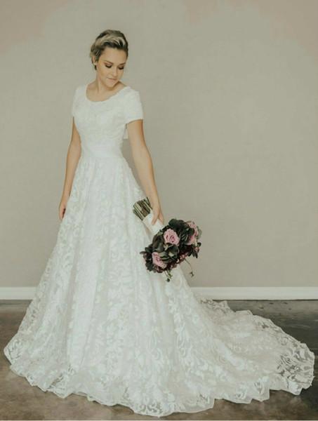 Discount Vintage Lace A Line Long Modest Wedding Dress With Short
