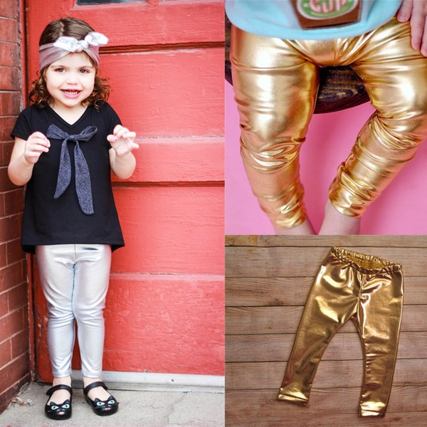 INS Baby Girls Leather Trousers Leggings 2018 Girls Princess Pants Hot Sale Girl Shiny Gold Tight Pants Children Long Pants 1-3Years