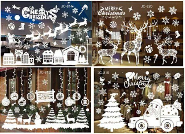 Christmas Tree Snowflake Decal Wall Sticker Creative Removable DIY Christmas Ornament Glass Window Sticker Kids Room Decoration